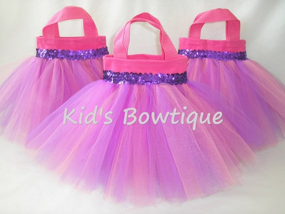 Set of 8 Pink and Purple Mixed Tulle Tutu Party Favor Tutu Bags - Party Decorations