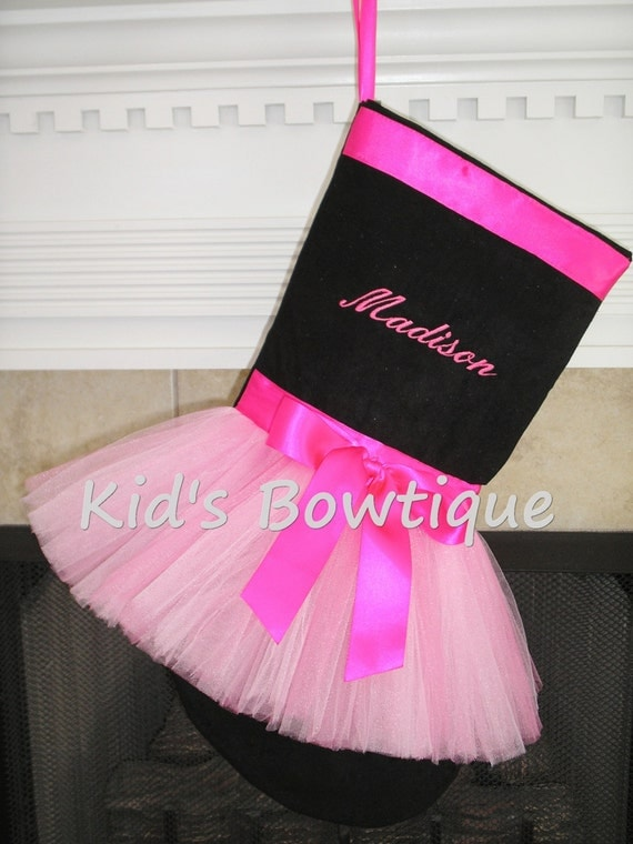 Monogrammed Pink Ribbon with Bow Tutu Christmas Stocking -  Unique Personalized Stocking