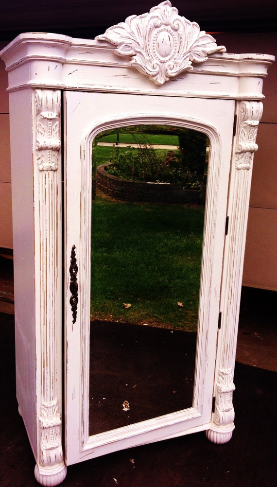 Vintage Pulaski French Distressed Mirrored Armoire Sale
