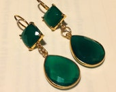 Green Goddess Agate Pear and Square Drop Earrings in Gold Vermeil