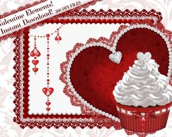 Cupcake Clipart, Valentine Clipart, Diamond Heart Cupcake