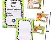 Yin Yang Daisies Printable Digital Stationery Set.