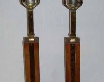 Mid Century Modern Wood Wooden Brass Table Lamps