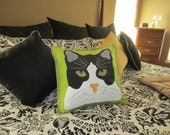 Custom CAT PILLOW COVER Handmade Appliqued Embroidered