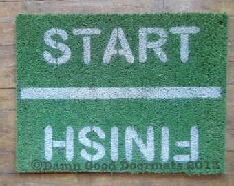 GREEN Start / Finish Rat race runner- funny life marathon Novelty doormat