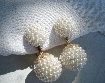 Vintage 1960's White Faux Pearls Gold Clip Earrings