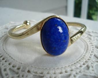 Vintage Lapis Lazuli Czech Glass Gold Bracelet Mid Century Classic