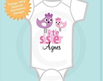 Little Sister Shirt, Little Sister Onesie, Cute Birds Shirt, Little Sister Big Sister Shirt, Personalized Shirt (11082012a4)