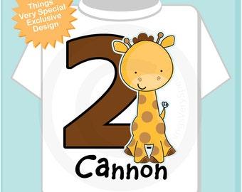 Personalized Second Birthday Giraffe Tee Shirt or Onesie, 2nd Birthday Giraffe tee, Safari Theme (01152014a)