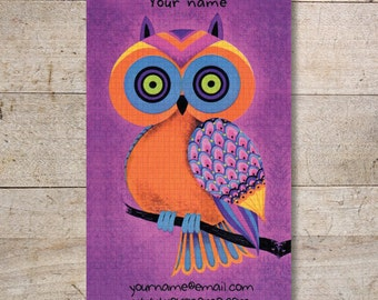 Business Cards - Custom Business Cards - Jewelry Cards - Earring Cards - Display Cards - Retro Owl - No. 97
