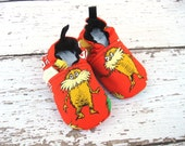 ORGANIC made from Lorax in Red  All Fabric Baby Shoes Booties