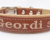 3/4 Inch Personalized leather dog collar. by Ruggit Collars (Non-Adjustable) (with optional buckle engraving)
