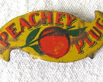 Peachey Plug Scotten Dillon Co Detroit Vintage Tin Litho Peach Tobacco Tag FREE Shipping M547