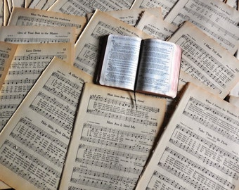 20 Vintage 1912 Stressed Gospel Sheet Music For Scrapbooking Alter Art Craft Supply Mixed Media Paper Kit Decoupage Ephemera Paper