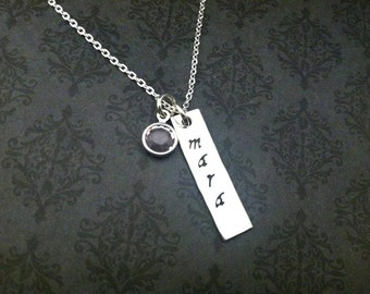 Hand stamped necklace - Bar necklace - Dainty necklace - Gift for her - Personalized Jewelry - Custom jewelry - Say Anything Jewelry