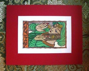 Fatima Print with Red Matte