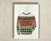Sale 50% Off - Christmas Card - Ugly Sweater