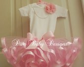 baby girl coming home outfit  -Ribbons and Pearls  -Satin Ribbon Trim Tutu Outfit