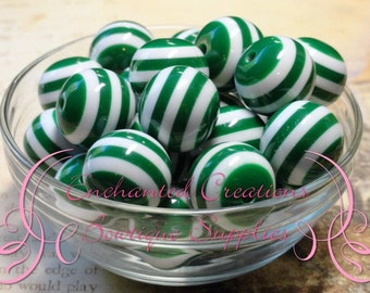 20mm Emerald Green and White Striped Beads Qty 10