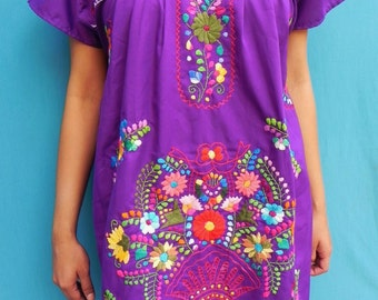Mexican Purple Mini Dress Fantastic Collection Colorful Embroidered Handmade Spring / Summer  Medium / Large