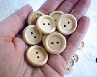 7/8 Inch Wooden Buttons Round, Pack of 100 - WHOLESALE PRICE