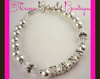 Nana Bracelet Gift for Mom or Grandma - choose your name or letters and crystal colors