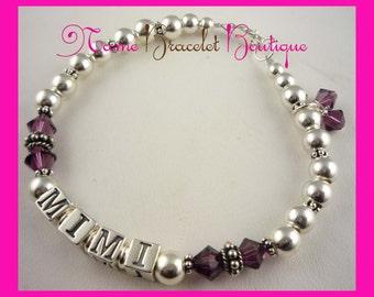 Amethyst & sterling silver Mimi bracelet for Grandma/ nana , mom, children's names or grandchild. Add strands and letters