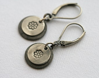Sterling And Fine Silver Tiny Flower Earrings