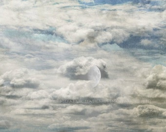 MOON Wrapped in a Cape of Clouds Original Color Abstract Art Photograph