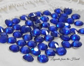 60 NEW Sapphire Blue Acrylic Flatback Round Rhinestones 7mm - Embellishments for scrapbooking, cards, crafting, cabochon, sparkle gem