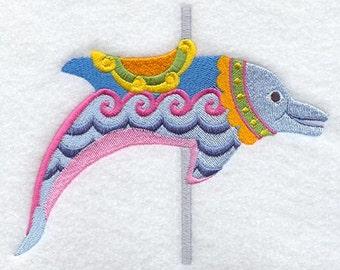 CAROUSEL DOLPHIN - Machine Embroidered Quilt Blocks (AzEB)