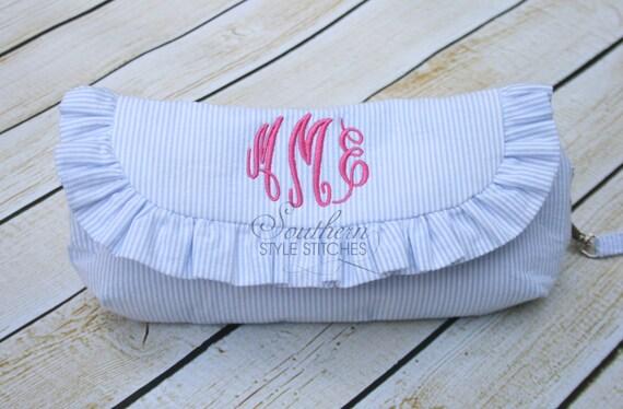 Monogrammed Ruffle Clutch, Diaper clutch, Make up bag