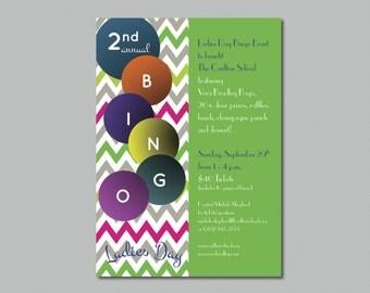 Printable - Colorful Chevron - Ladies Day Bingo - School Fundraiser Event Invitation
