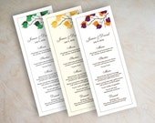 Wedding reception menu cards, menu cards for wedding reception, menu cards wedding, birch tree branch, gold, emerald, purple, orange, Serena