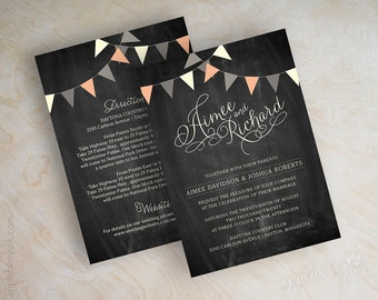Bunting wedding invitations, bunting wedding invitation, chalkboard bunting invitations, bunting invitation, coral, ivory, gray, Shelley