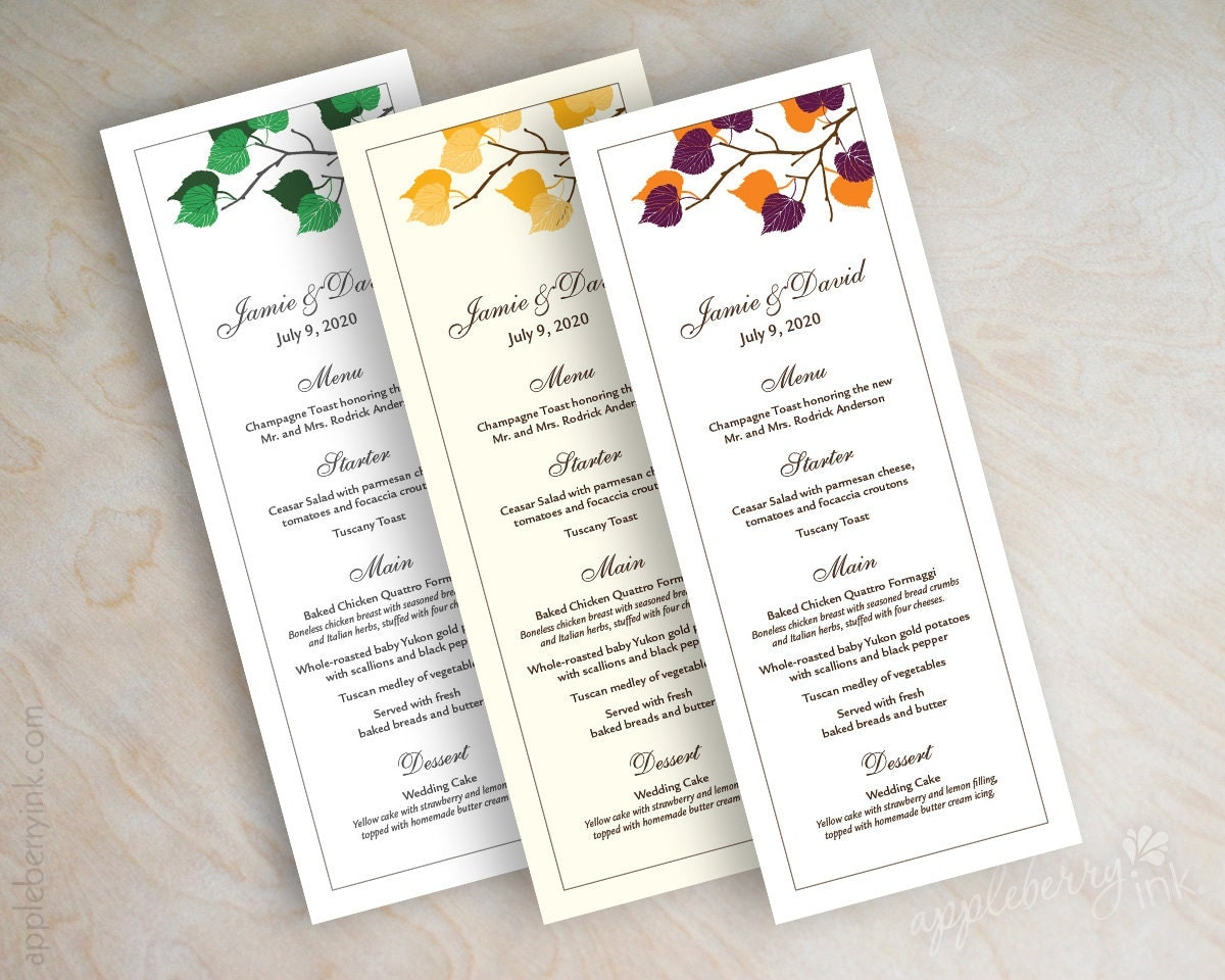 Wedding Reception Menu Cards Menu Cards For Wedding