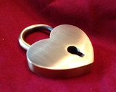 Large Heart Shaped Brushed Bronze Colored Working Padlock