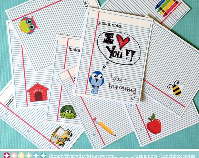 Just a Note - Lunchbox Notes - Great for kids or teachers - lunch box, back-to-school & just because - INSTANT Download DIY Printable PDF