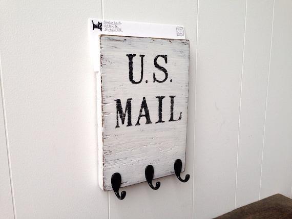 Mail Organizer Wooden Wall Key Holder White Black Us