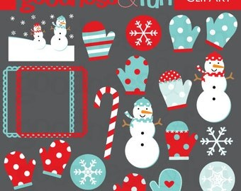 Buy 2, Get 1 FREE - Snowdays Winter Clipart - Digital Winter Clipart - Instant Download