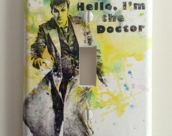 Doctor Who David Tennant As the 10th Doctor - Doctor Who Decorative Light Switch Plate Cover