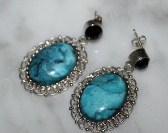 Black Spinel, Turquoise Earrings, Arizona Turquoise, Dangle Earrings