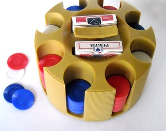 vintage mid century modern atomic era card & poker chips golden yellow caddy/carrier