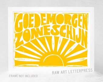 Goedemorgen Zonneschijn, Dutch, Good Morning Sunshine, Kitchen Art, Housewares, Wall Decor