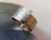 Adjustable Sterling silver wide band ring, rustic textured hammered ring, metalwork, handmade