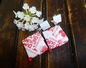 Cherry Candy Wrapper Earrings.