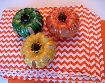 Orange Chevron Placemats Set of 4 or 6 Reversible Zig Zag Orange Chevron Placemats Fall Placemats Halloween Placemats