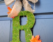 Fall Wreath-Monogram Wreath-Moss and Burlap Autumn Door Wreath