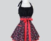 Flirty Chic Apron , Cute and Sexy SINGLE LAYER SKIRT Red and Black Hearts and Roses Rockabilly Flirty Sexy Retro Womens Apron