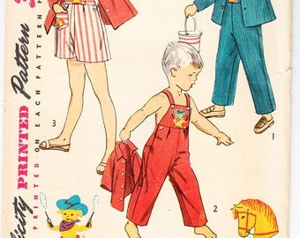 Vintage 1952 Simplicity 4059 UNCUT Sewing Pattern Child's Overall in Two Lengths and Jacket Size 3